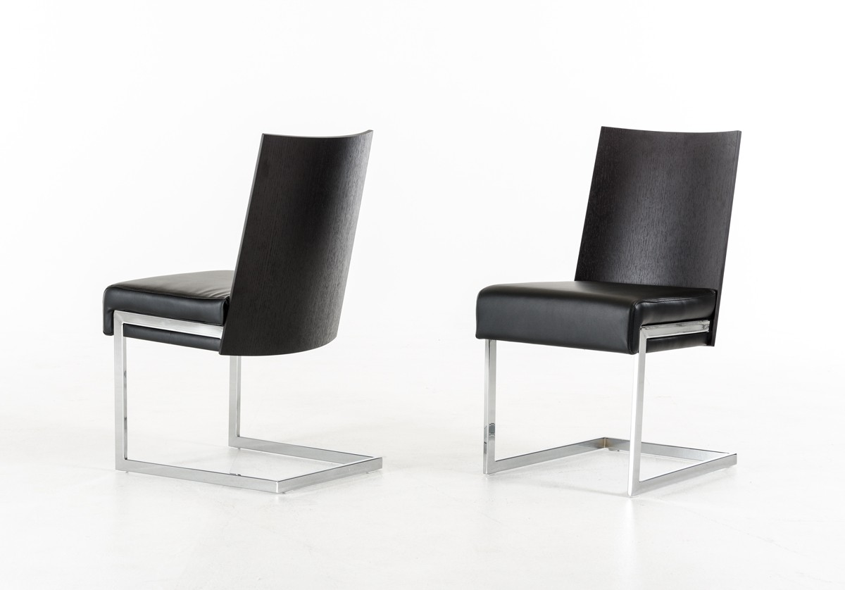 modern black chair set mcguire chairs vintage etch dark oak and leatherette dining