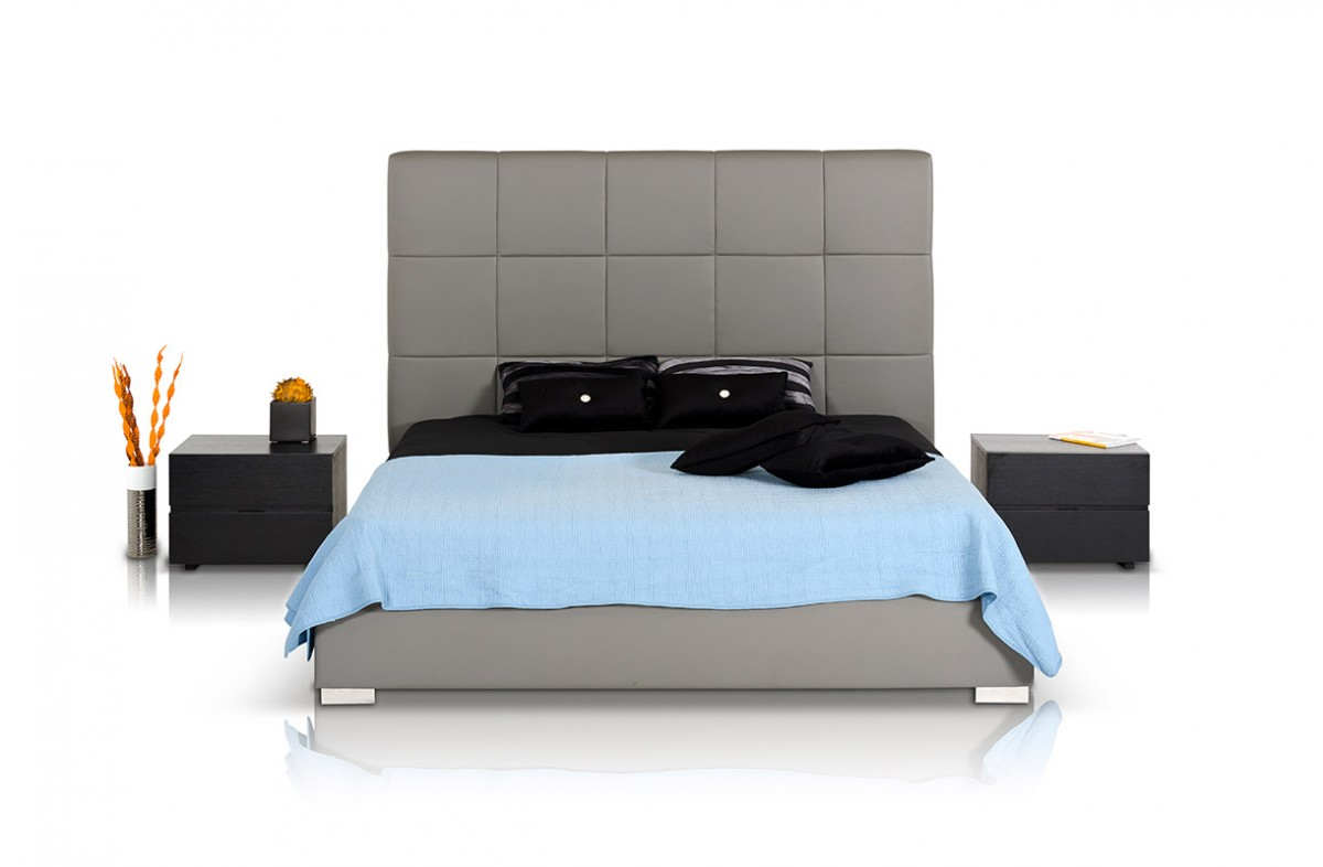 Modrest Messina Modern Grey Eco Leather Bed With Lift