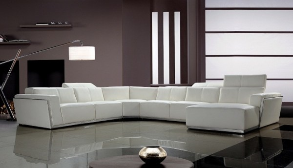 modern living room with sectional sofa Divani Casa Tempo - Contemporary Leather Sectional Sofa - Sofas - Living Room