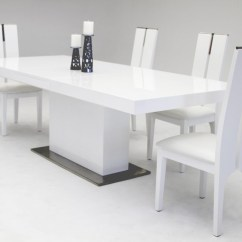White Dining Room Table And Chairs Cadbury Purple Chair Sashes Modrest Zenith Modern Extendable