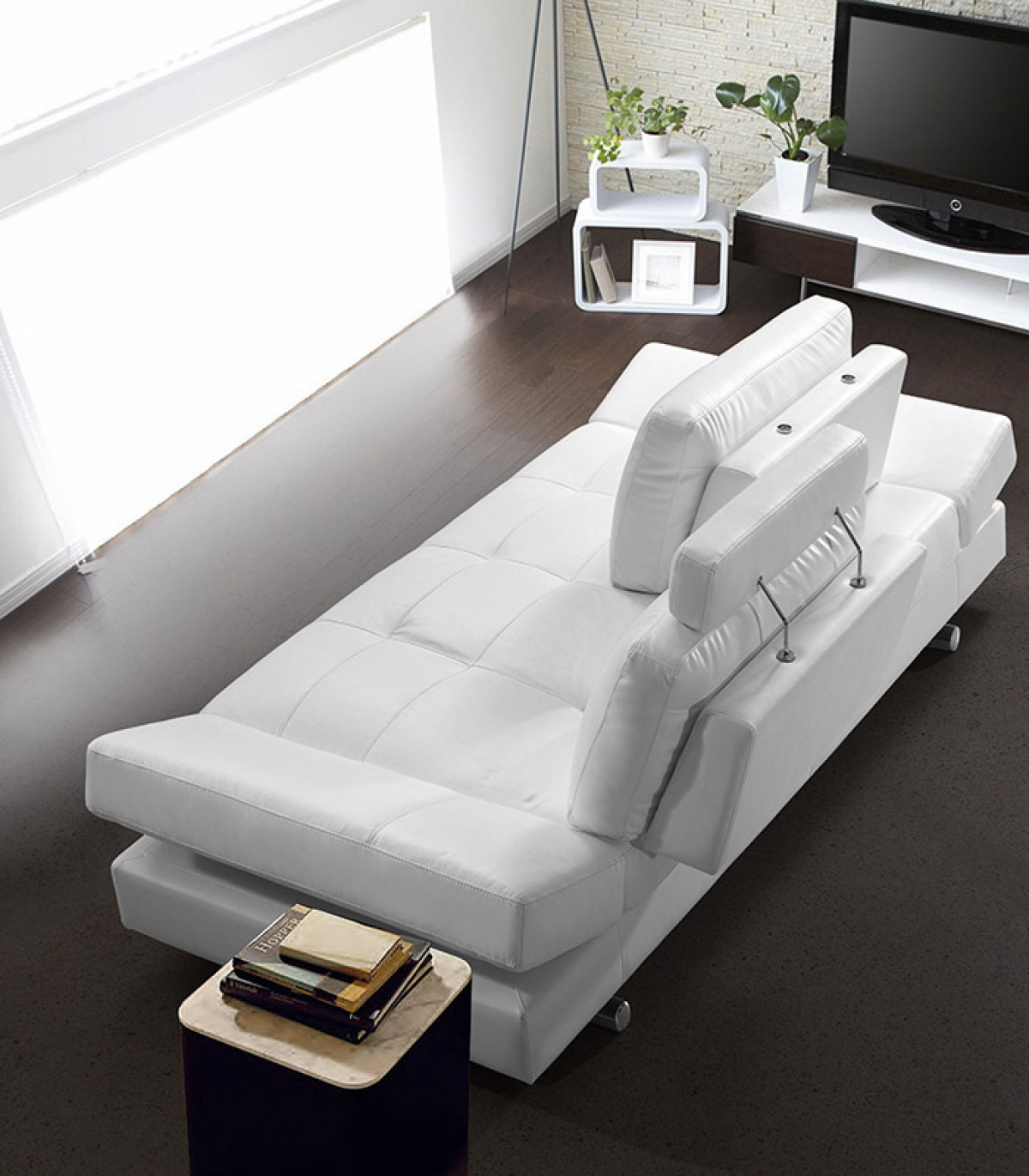 divani casa 5106 modern white italian leather sectional sofa restoration hymn with