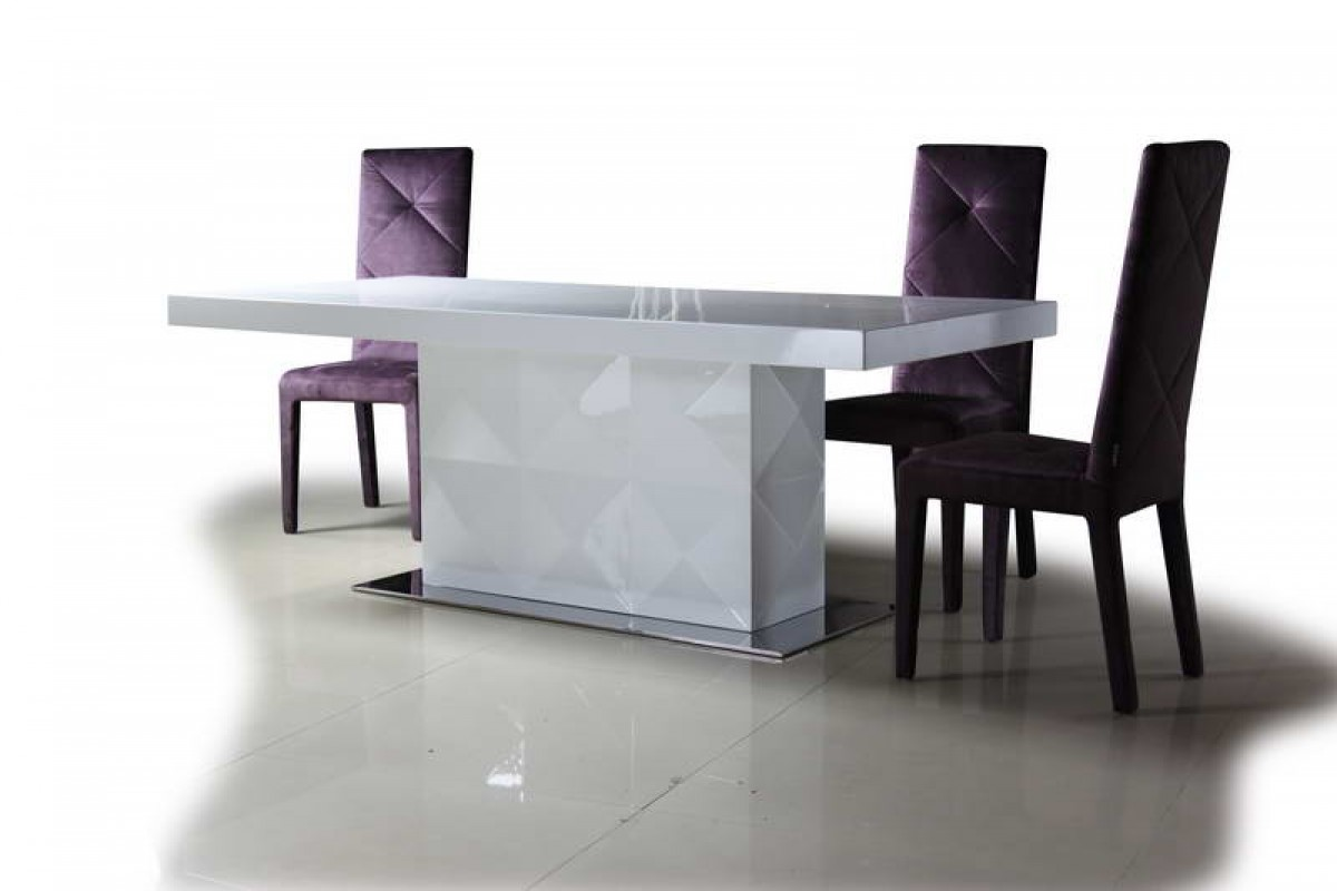 Versus Eva White Lacquer Modern Dining Table Modern Dining Dining