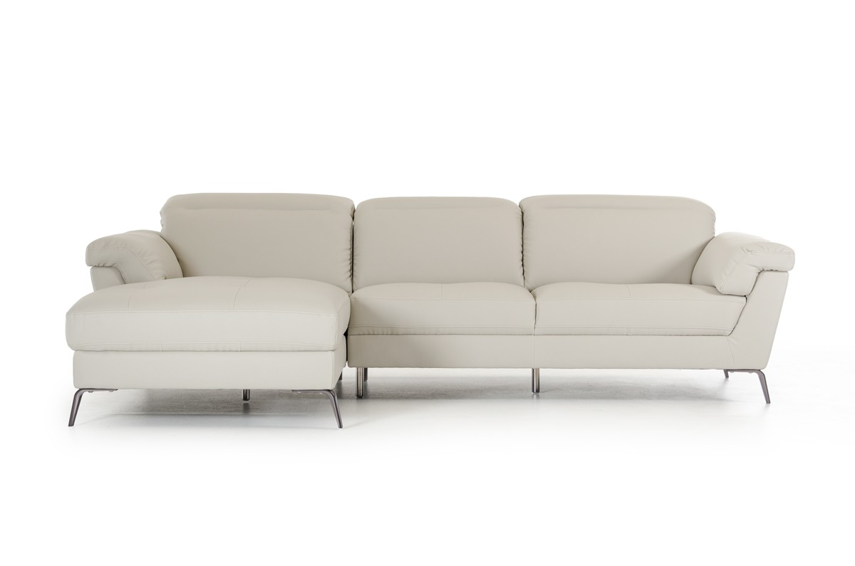 light gray sectional sofa benson the brick divani casa edelweiss modern grey eco leather