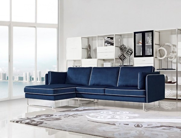modern living room with sectional sofa Divani Casa Anchusa Modern Blue Fabric Sectional Sofa