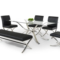 Steel Chair Dining Table Director Covers For Sale Modrest Adderley Modern Stainless W Glass Top