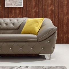 Divani Casa Potash Modern Taupe Fabric Sofa Set Best Rated Sectional Sofas T762 Tufted Leather W