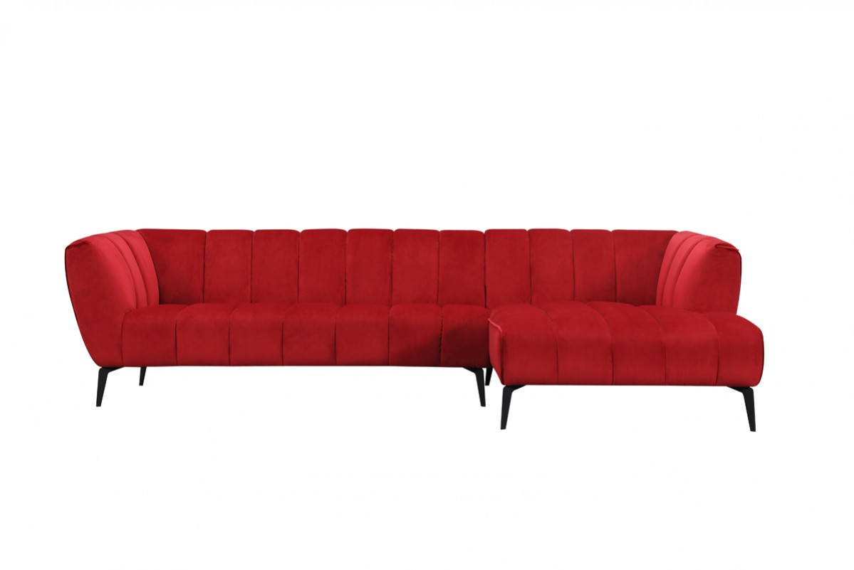leatherette vs fabric sofa mor furniture chaise divani casa morton modern red sectional