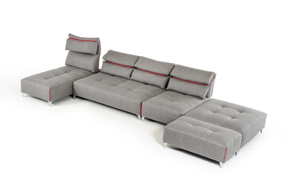 lusso horizon modern grey fabric leather sectional sofa gray david ferrari zip