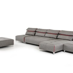 Lusso Horizon Modern Grey Fabric Leather Sectional Sofa Roundabout David Ferrari Zip
