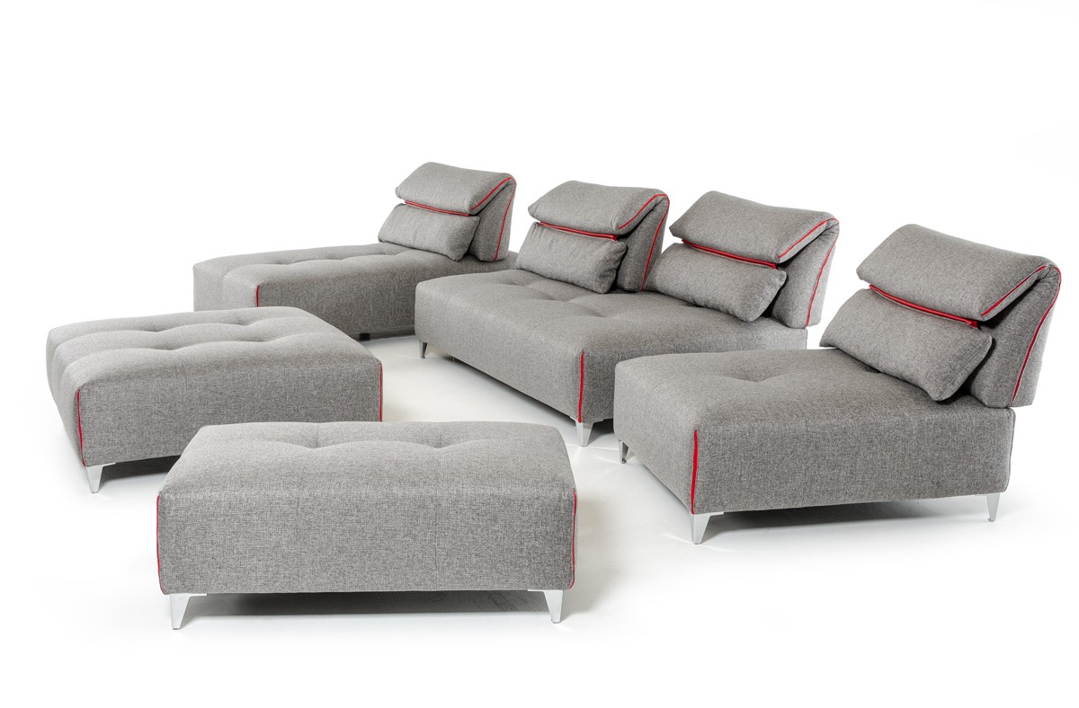 lusso horizon modern grey fabric leather sectional sofa portfolio tara david ferrari zip