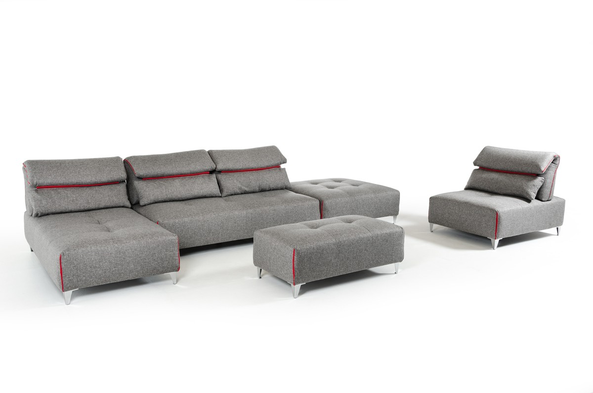 lusso horizon modern grey fabric leather sectional sofa borge mogensen 2209 david ferrari zip
