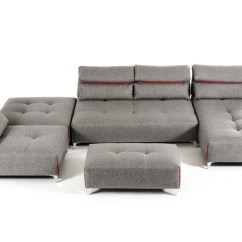 Lusso Horizon Modern Grey Fabric Leather Sectional Sofa 5 Seater Under 20000 David Ferrari Zip