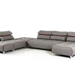 Lusso Horizon Modern Grey Fabric Leather Sectional Sofa Rv Reclining Sleeper David Ferrari Zip