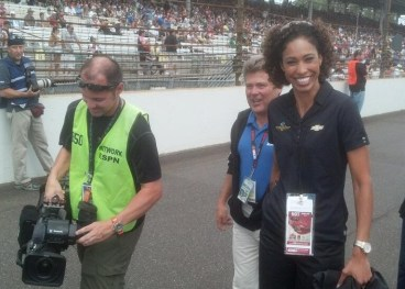 ESPN's Sage Steele drives the pace car for the 20th running of the Brickyard 400.