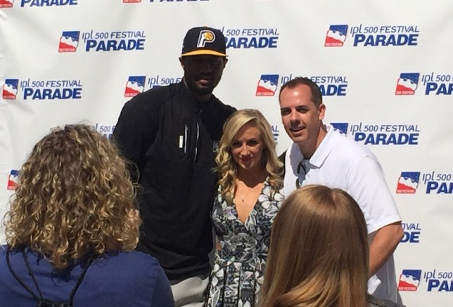 Paul George and Frank Vogel with Olympic Gold Medalist Nastia Liukin at the 2015 500 Festival Parade.