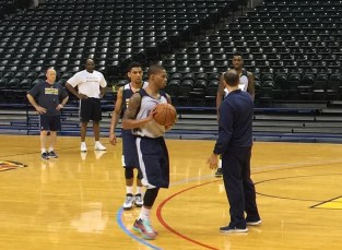 Christmas (behind coach Frank Vogel) attended the Pacers' first pre-draft workout in May.