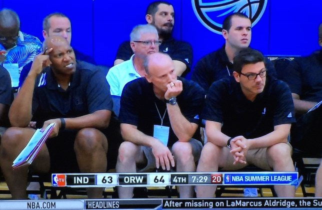 Greek National Team coach Fotis Katsikaris was invited to help coach the Pacers' Summer League team.