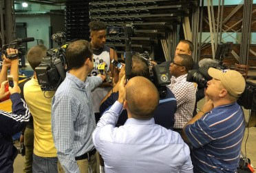 Rookie Myles Turner was a popular man after his first practice as a Pacer.