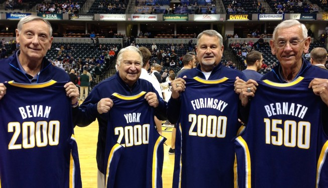 The Pacers honored Bill Bevan, Bill York, Mike Furimsky (son of Paul), and Bob Bernath for their milestones of games worked. (From Mar. 13, 2013)