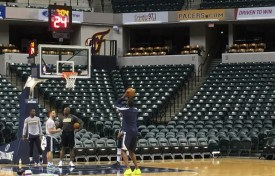 Mahinmi works on his free throws after practice this week.