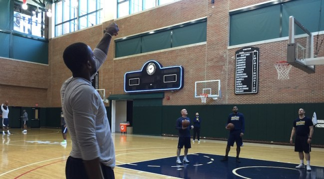 C.J. Miles fires 3-pointers after practice.