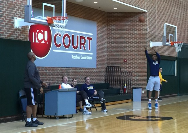 Myles Turner working on his jumper with Popeye Jones.