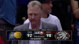Larry Bird was clearly unhappy with the way his team finished Game 5. [Photo: @CBSSportsNBA]