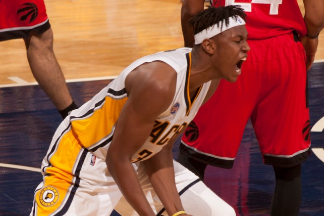 Pacers rookie Myles Turner was fired up after winning Friday to force a Game 7. [Frank McGrath/PS&E]