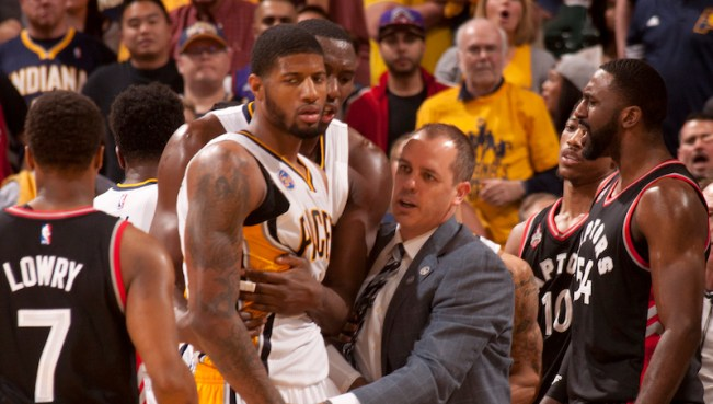 Pacers coach Frank Vogel held Paul George back in Game 4. [Frank McGrath/PS&E]