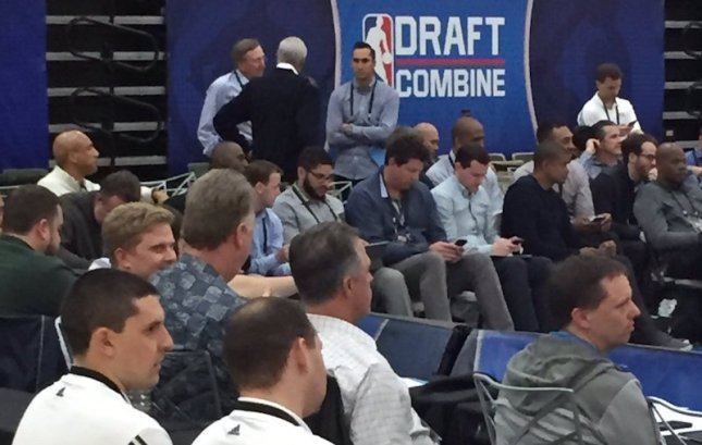 Pacers' Connor Bird, Larry Bird, Kevin Pritchard, and Ryan Carr evaluating players at the 2016 Draft Combine. [@ColinxBowles]