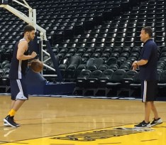 Bayno works out with Pacers second-round pick Georges Niang after practice.