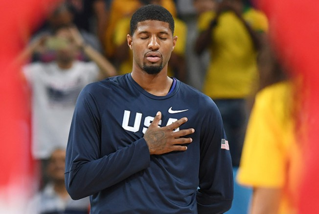 Paul George prepares for his first Olympic game. [Photo: Garrett W. Ellwood/NBAE/Getty Images]