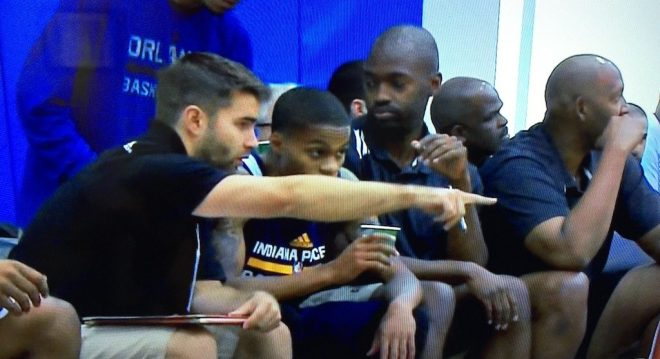 Anthrop talks with Pacers guard Joe Young at Orlando Summer League.