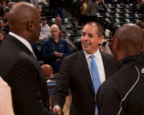 Frank Vogel and Nate McMillan talked before the game. [Frank McGrath/PS&E]