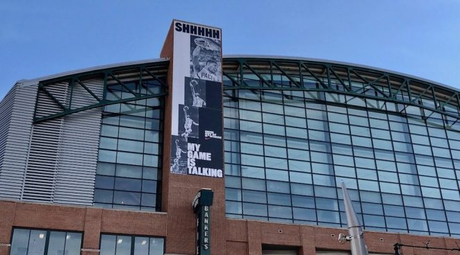 This Nike banner hangs on the west side of Bankers Life Fieldhouse.