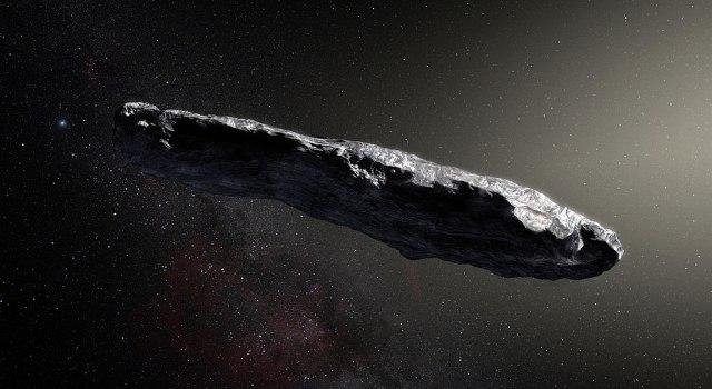 Representação artística do asteroide Oumuamua. Por ESO/M. Kornmesser