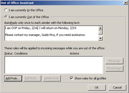 Outlook out-of-office