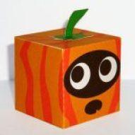 Cubeecraft recortable de una calabaza de halloween. Manualidades a Raudales.