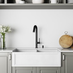 Farmhouse Kitchen Faucet Moveable Islands Vigo 33 Inch Double Bowl Matte Stone Crown Reversible Apron Front Sink And Oakhurst Led Pull Down Spray Soap Dispenser