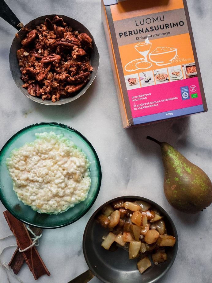 Mascarpone-helmipuuroa, kanelipäärynöitä ja pekaanipähkinäcrumble