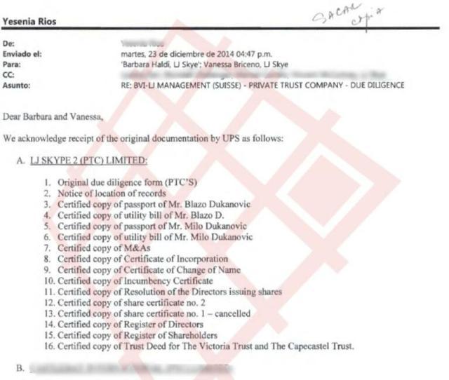 Izvod iz email komunikacije ALCOGAL-a i LJ Management (Suisse) kojom se potvrđuje prijem dokumenata Mila i Blaža Đukanovića