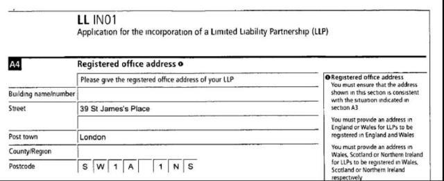 Dio zahtjeva za registraciju kompanije DGT Energy koji pokazuje adresu kancelarije