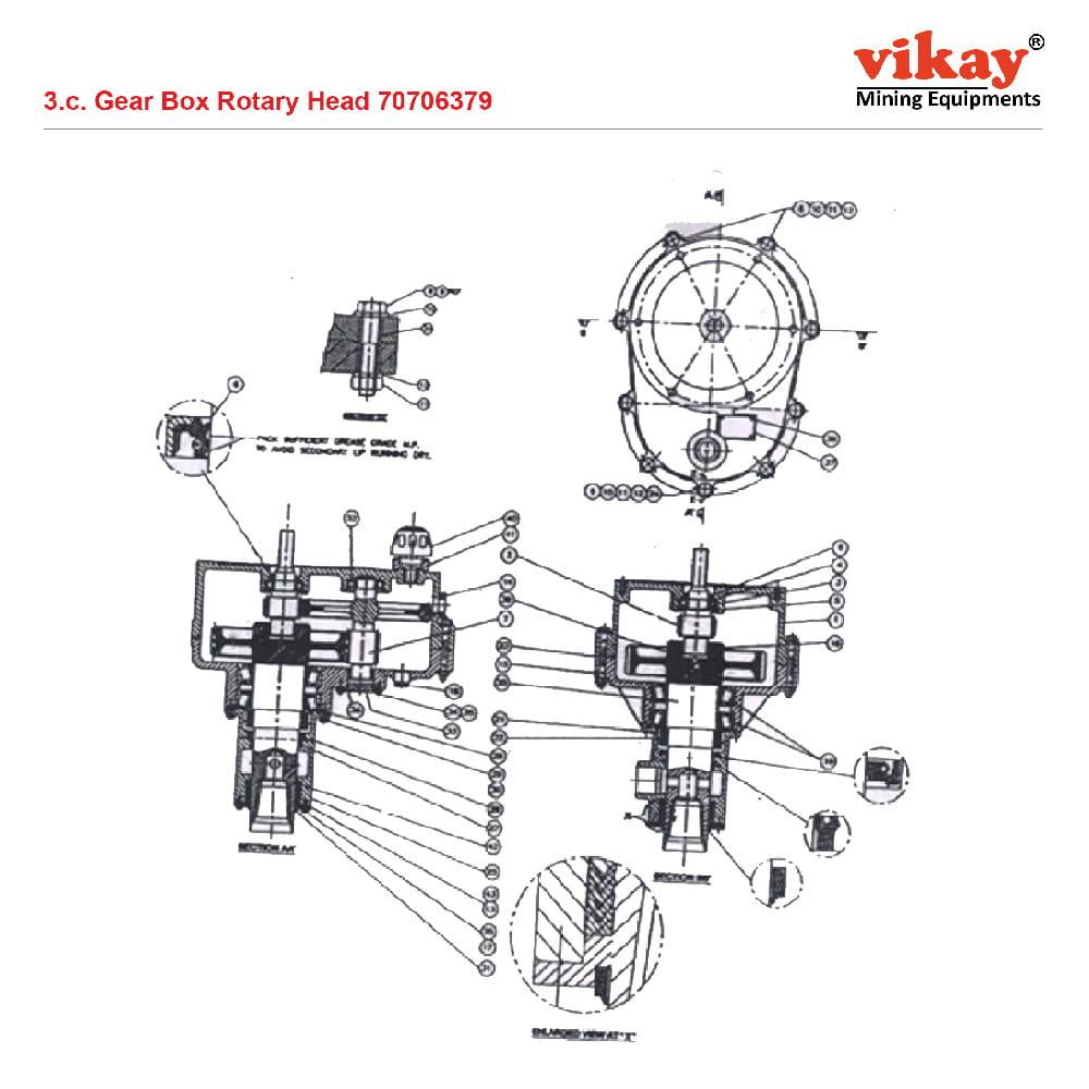 Gear Box Rotary Head Ingersoll Rand LM 100 Parts