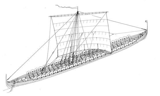 The longship from Haithabu Harbour: Vikingeskibsmuseet i