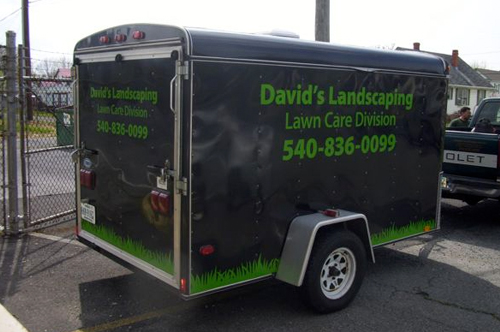 david's landscaping trailer wrap viking forge design