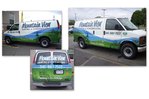 mountain view van vehicle wrap viking forge design