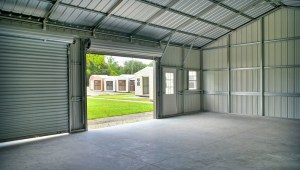 interior of metal garage