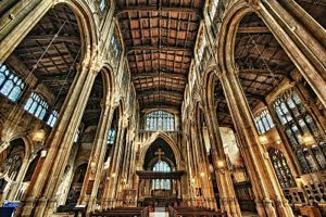 THe interior of Saint John the Baptist Church in Cirencester, Gloucestershire, England