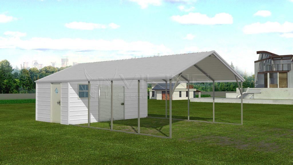18x31 Carport With Storage Shed