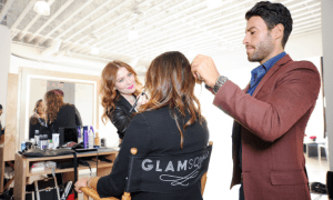 beauty supervisors attending to a influencers beauty needs made by glam squad